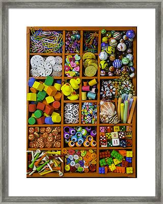 Box Full Of Colorful Objects Framed Print by Garry Gay
