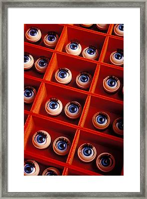 Box Full Of Doll Eyes Framed Print by Garry Gay