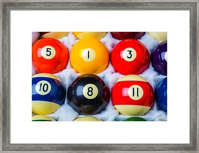 Box Of Pool Balls Framed Print by Garry Gay