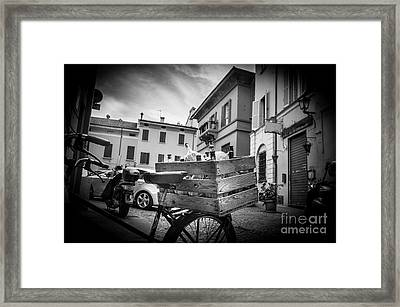 Box Of Wine Black And White Bologna Italy Damigiane Framed Print by Luca Lorenzelli