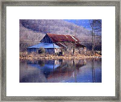 Boxely Barn Reflection Framed Print