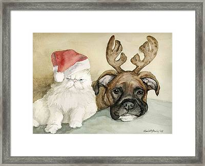 Boxer And Persian Cat Christmas Framed Print by Charlotte Yealey