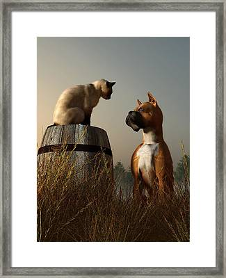 Boxer And Siamese Framed Print