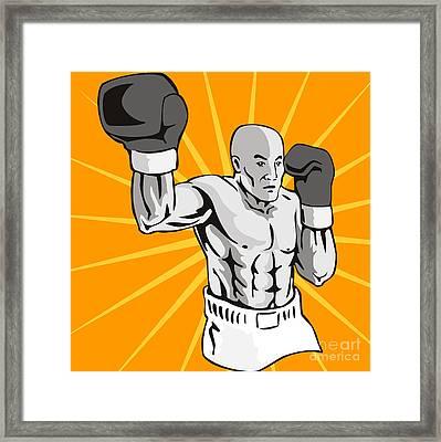 Boxer Boxing Knockout Punch Retro Framed Print by Aloysius Patrimonio