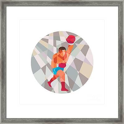 Boxer Boxing Punching Circle Low Polygon Framed Print by Aloysius Patrimonio