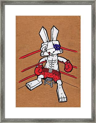 Boxer Bunny Framed Print by Bizarre Bunny
