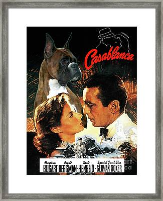 Boxer Dog Art Canvas Print - Casablanca Movie Poster Framed Print