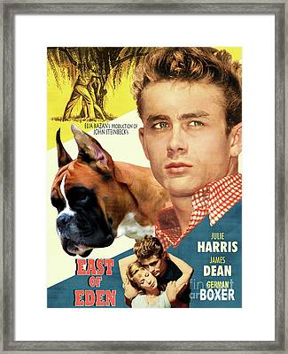 Boxer Dog Art Canvas Print - East Of Eden Movie Poster Framed Print