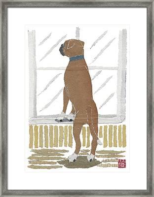 Boxer Dog Art Hand-torn Newspaper Collage Art Framed Print by Keiko Suzuki Bless Hue