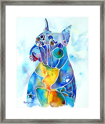 Boxer Dog Breed Blues Framed Print by Jo Lynch