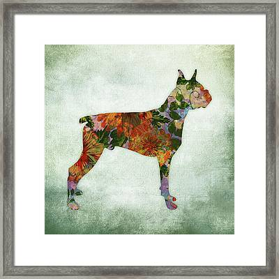 Boxer Dog Floral On Green Framed Print