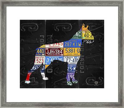 Boxer Dog Pet Owner Love Vintage Recycled License Plate Artwork Framed Print