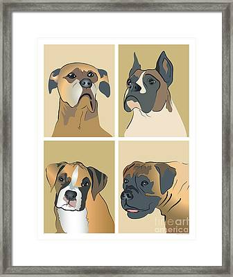 Boxer Dogs 4 Up Framed Print