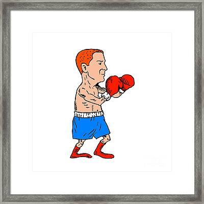 Boxer Fighting Stance Cartoon Framed Print