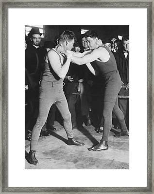Boxer Frank Moran In Training Framed Print by Underwood Archives