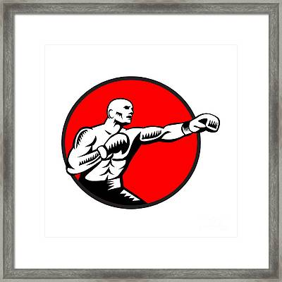 Boxer Jabbing Punching Circle Woodcut Framed Print