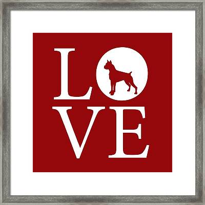 Boxer Love Red Framed Print by Nancy Ingersoll