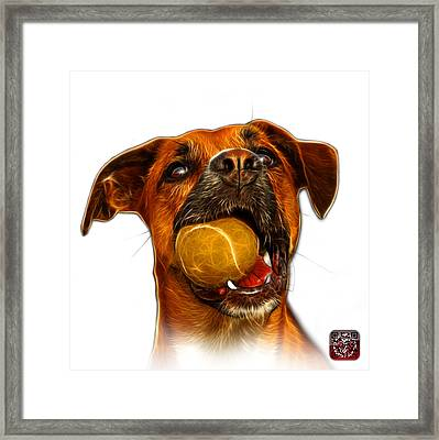 Framed Print featuring the digital art Boxer Mix Dog Art - 8173 - Wb by James Ahn