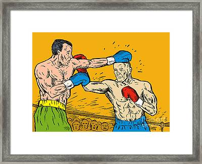 Boxer Punching Framed Print
