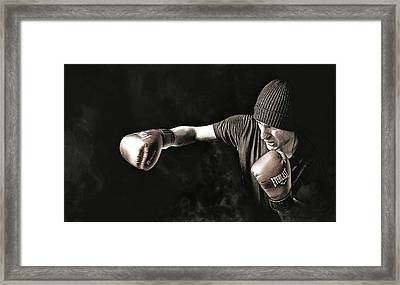 Boxer Training In The Shadows Framed Print