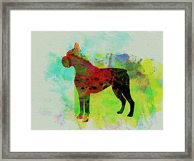 Boxer Watercolor Framed Print by Naxart Studio