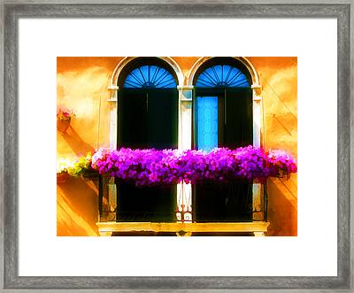 Boxes Of Flowers Before Window Framed Print by Lanjee Chee