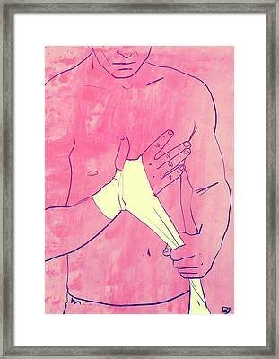 Framed Print featuring the drawing Boxing Club 1 by Giuseppe Cristiano