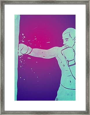 Framed Print featuring the drawing Boxing Club 6 by Giuseppe Cristiano