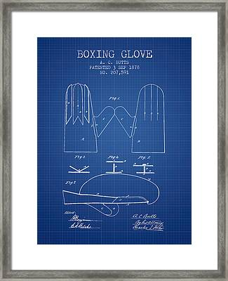 Boxing Glove Patent From 1878 - Blueprint Framed Print by Aged Pixel