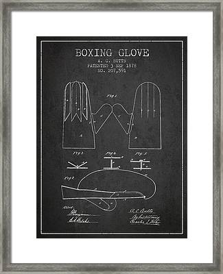 Boxing Glove Patent From 1878 - Charcoal Framed Print by Aged Pixel