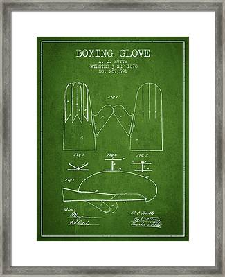 Boxing Glove Patent From 1878 - Green Framed Print by Aged Pixel