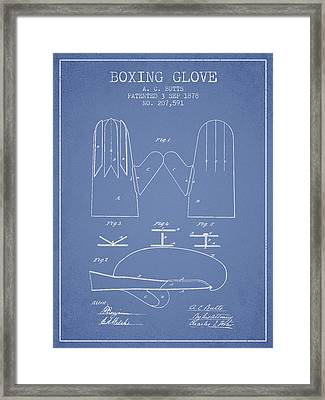 Boxing Glove Patent From 1878 - Light Blue Framed Print by Aged Pixel
