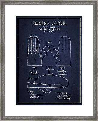 Boxing Glove Patent From 1878 - Navy Blue Framed Print by Aged Pixel