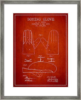 Boxing Glove Patent From 1878 - Red Framed Print by Aged Pixel