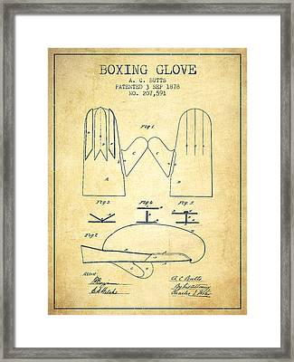 Boxing Glove Patent From 1878 - Vintage Framed Print by Aged Pixel