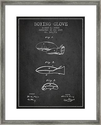 Boxing Glove Patent From 1885 - Charcoal Framed Print by Aged Pixel