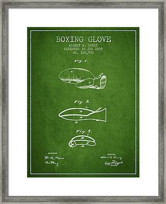 Boxing Glove Patent From 1885 - Green Framed Print by Aged Pixel