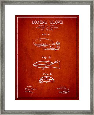 Boxing Glove Patent From 1885 - Red Framed Print by Aged Pixel
