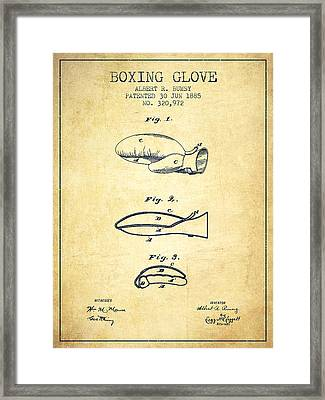 Boxing Glove Patent From 1885 - Vintage Framed Print by Aged Pixel