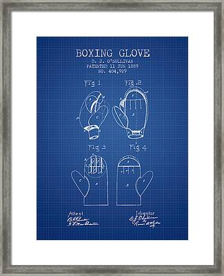 Boxing Glove Patent From 1889 - Blueprint Framed Print by Aged Pixel
