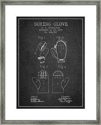 Boxing Glove Patent From 1889 - Charcoal Framed Print by Aged Pixel