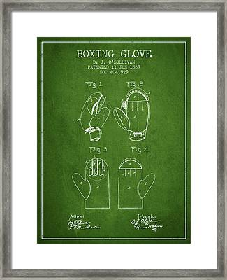 Boxing Glove Patent From 1889 - Green Framed Print by Aged Pixel