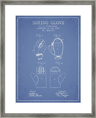 Boxing Glove Patent From 1889 - Light Blue Framed Print by Aged Pixel