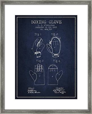 Boxing Glove Patent From 1889 - Navy Blue Framed Print by Aged Pixel