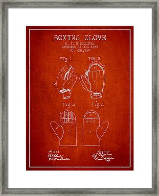 Boxing Glove Patent From 1889 - Red Framed Print by Aged Pixel