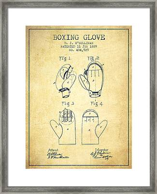 Boxing Glove Patent From 1889 - Vintage Framed Print by Aged Pixel