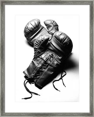 Boxing Gloves In Black Andwhite Framed Print by Rebecca Brittain