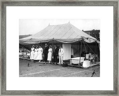 Boxing Match Field Hospital Framed Print by Underwood Archives