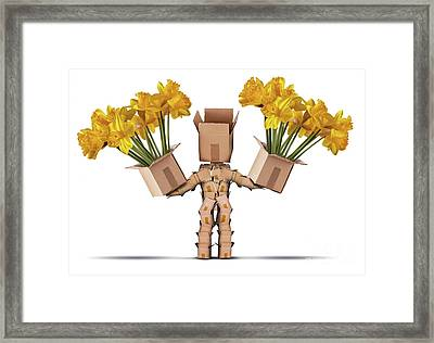 Boxman Character Holding Two Boxes Of Flower Framed Print