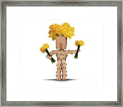 Boxman Holding Bunches Of Daffodils Framed Print